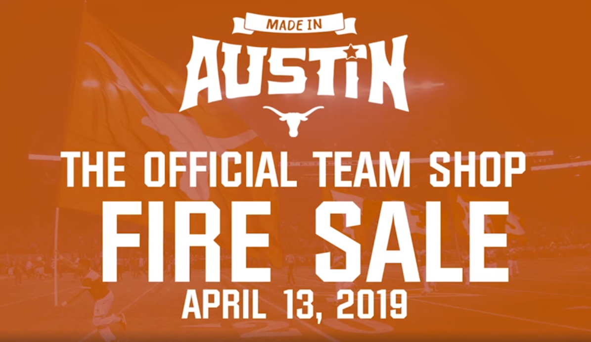 pretty nice 06318 cdb13 Texas Athletics to Hold Team Shop Fire Sale During Made in ...